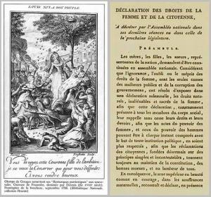 Desrais / Frussolte, Frontispiz, Kupferstich, 1788, Paris, Bibliothèque Nationale. Gouges und Marie-Antoinette &First page of Declaration of the Rights of Woman and the Female Citizen
