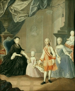 The widowed Maria Theresa, Archduke Leopold and his wife Maria Ludovica together with two of their children, gouache