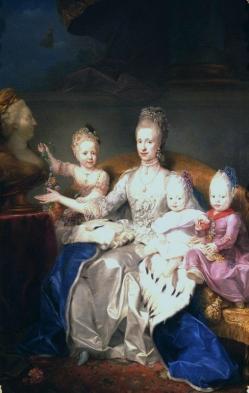 Anton von Maron: Maria Ludovica with three of her children, oil painting, c. 1769