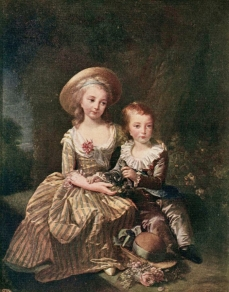 Portrait by Elisabeth Vigee-Lebrun Princess Marie Thérèse Charlotte of France, Madame Royale, and her younger brother Louis Joseph Xavier of France, Dauphin of France, the eldest children of King Louis XVI of France and Queen Marie Antoinette of France, grandchildren of Empress Maria Theresia of Austria and Holy Roman Emperor Franz I. Stephan of Lorraine