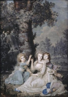 Portrait de Marie-Antoinette (1755-1793) et ses enfants au pied dun arbre