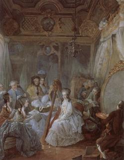 Maria Antonietta suona larpa nella sua stanza a Versailles1777 by Jean-Baptiste Gautier Dagoty Musée national des Châteaux de Versailles et de Trianon