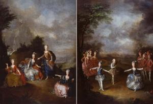 Le Triomphe de l'amour, représentation à Schönbrunn par les archiducs Ferdinand, Maximilien d'Autriche et l'archiduchesse 、Il Parnasso Confuso, représentation à Schönbrunn par les archiduchesses d'Autriche