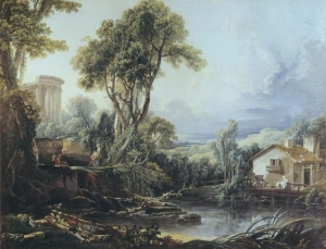 Francois Boucher. Landscape with a Temple and a Watermill. 1743