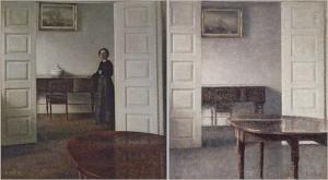 Stue, Bredgade 25, 1911(ARoS Aarhus Kunstmuseum, Aarhus),Stue. Fløjdørene står åbne. Værelse med lukket klaver. Over dette et stik. I forgrunden mahognibord 1911 (Bruun Rasmussen)