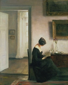 Carl Vilhem HOLSØE Woman Reading in an Interior