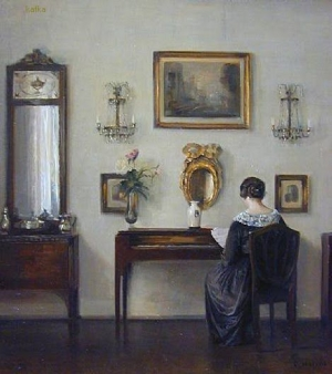 INTERIOR WITH THE ARTIST'S WIFE AT THE PIANO