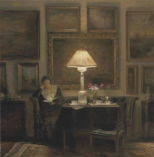 A LADY READING BY LAMPLIGHT