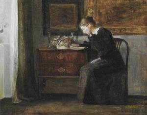INTERIOR WITH READING WOMAN Uppsala Auktionskammare