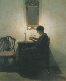 'Woman Reading by Candlelight' by Peter Vilhelm Ilsted