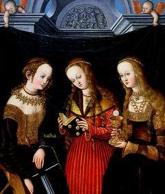 Lucas Cranach the Elder (1472-1553) -Saints Catharine, Margareth and Barbara.C.1515-20.The Toledo Museum of Art