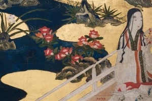 screen with scenes from the Tale of Genji