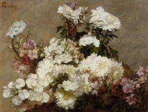 White Phlox Summer Chrysanthemum and Larkspur