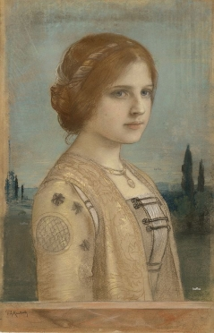 Friedrich August von Kaulbach A Girl in historic Costume, circa 1885