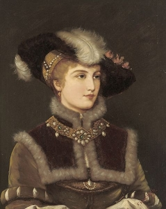 Portrait of a young lady in a fur hat 1920 Friedrich August Kaulbach