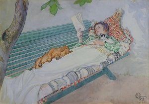 Woman Lying on a Bench. 1913. by Carl Larsson Musee du Louvre