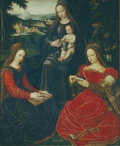 La Vierge à lEnfant, sainte Barbe, sainte Catherine Ambrosius BENSON  Musée du Louvre