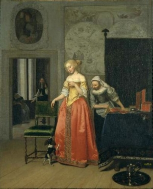 Jacob Ochtervelt  Lady with Servant and Dog, c. 1671-1673, Carnegie Museum of Art, Henry Lee Mason Memorial Fund