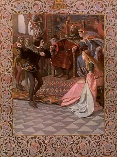 Hamlet Before King Claudius, Queen Gertrude and Ophelia, Scene from