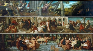 Tintoretto - Samsons revenge on the Philistines - The queen of Sheba before Salomon - Belshazzars feast