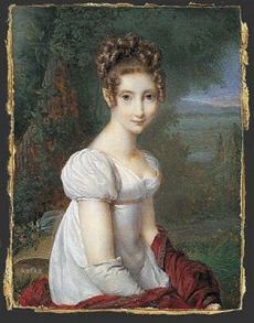 Nicolas Jacques, A young woman wearing gloves in a park, 1813