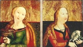 Matthias Gruenewald: Die Heilige Agnes, um 1503 and Die Heilige Dorothea, um 1503,Coburg, Kunstsammlungen der Veste Coburg