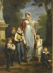 Gérard - Louise-Antoinette Lannes, née Guéheneuc, duchesse de Montebello et ses cinq enfants