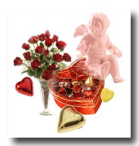 バレンタインデーのお返しは、お花のプレゼントで愛のキューピット