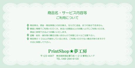 金券印刷【Kinken裏2010】金券デザイン