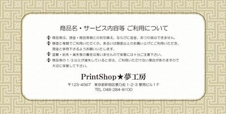 金券印刷【Kinken裏2050】金券デザイン
