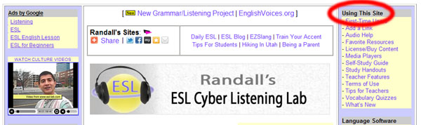 Randall's ESL Cyber Listening Labの説明画像
