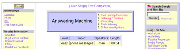 Randall's ESL Cyber Listening Labの個別記事Answering Machineの