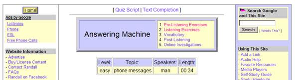 Randall's ESL Cyber Listening Labの個別記事Answering Machineの