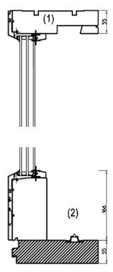 スライドドアの断面図