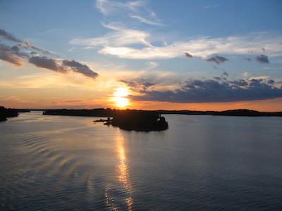 北欧の夕日