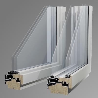 外側アルミの木製窓