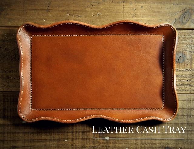 名入れ無料の革製のキャッシュトレイ