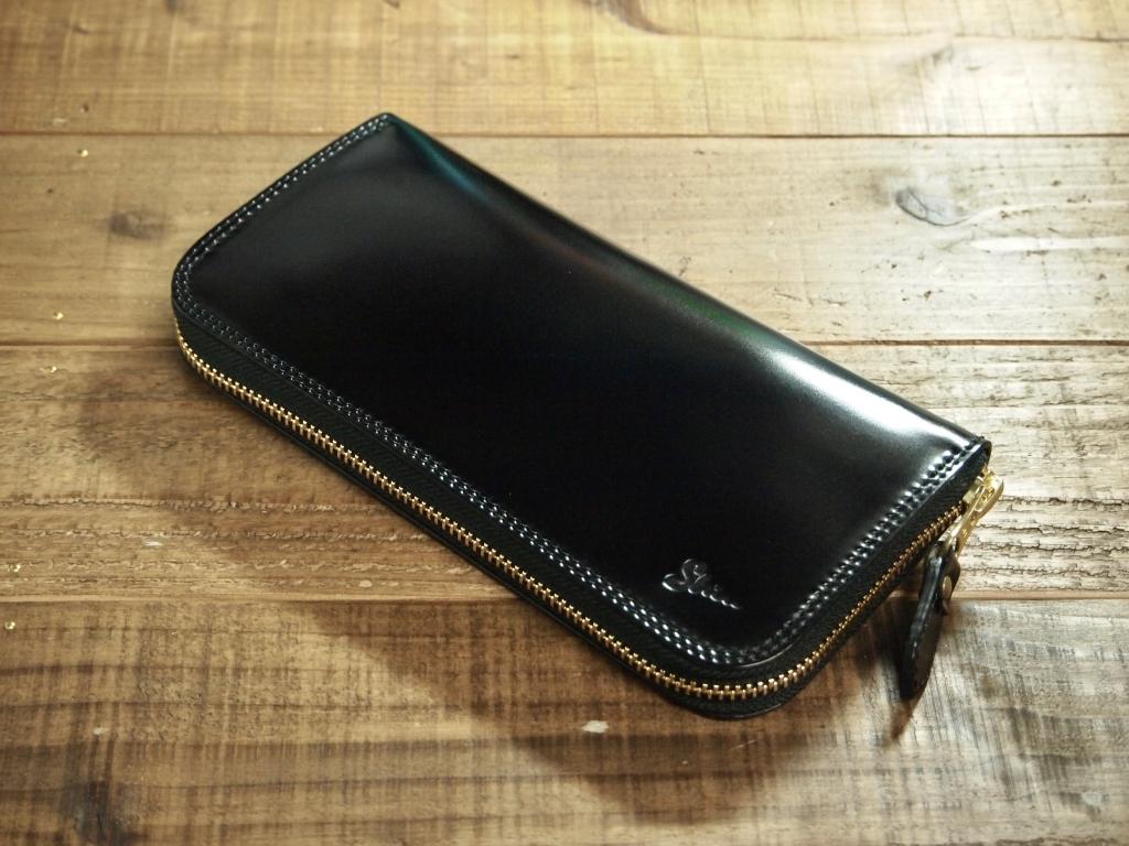 コードバン(黒)のラウンドファスナー式長財布