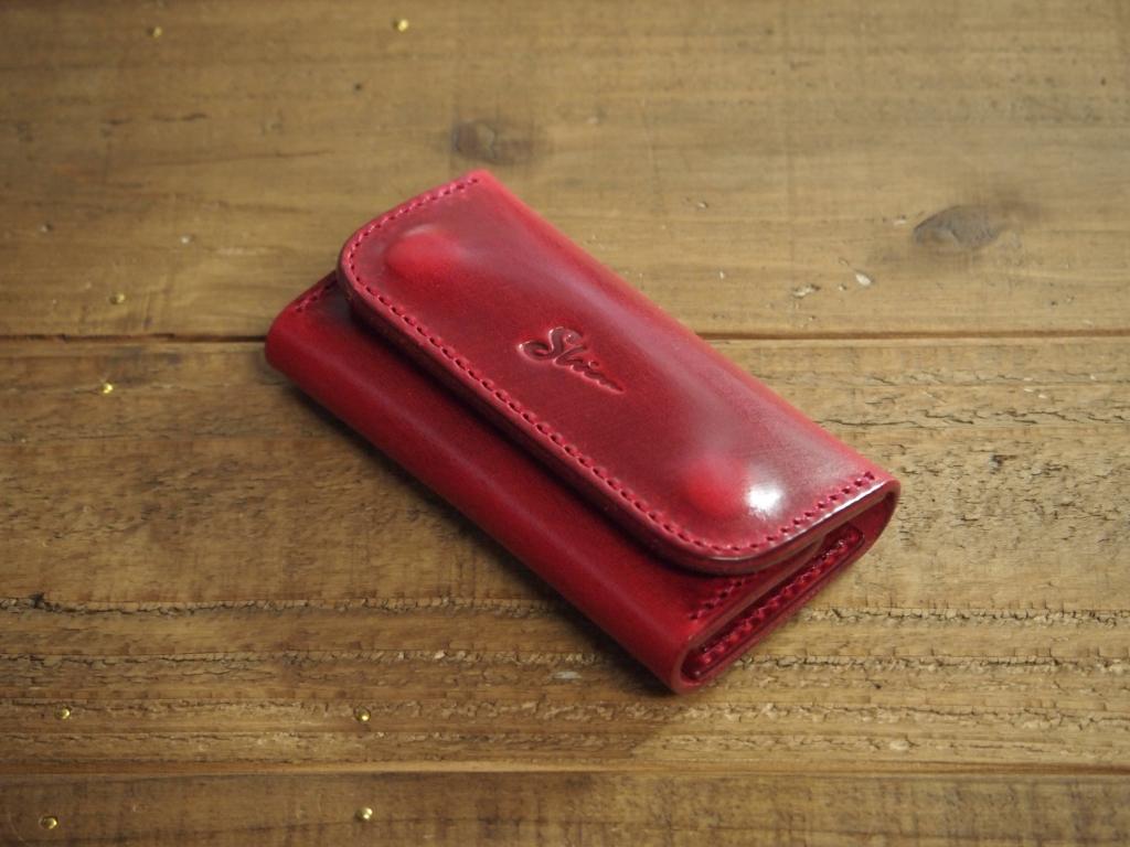 赤い革(プルアップレザー)のキーケース