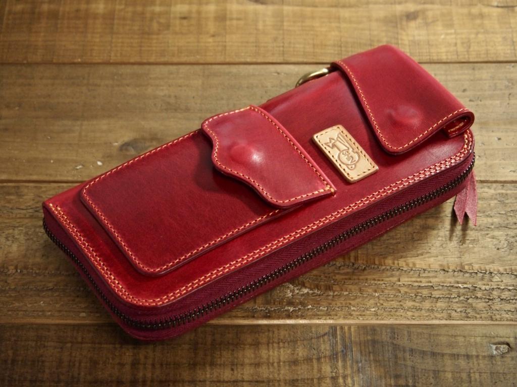 赤い革のフライトウォレット A2