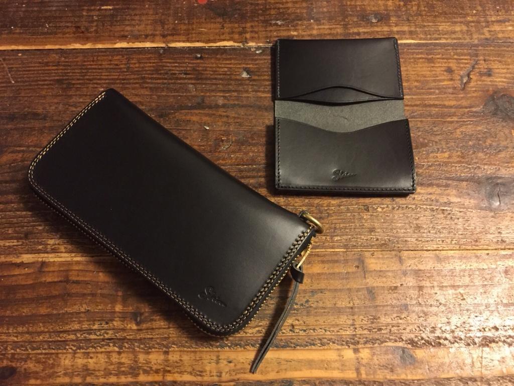 黒いブッテーロのお財布と名刺入れ
