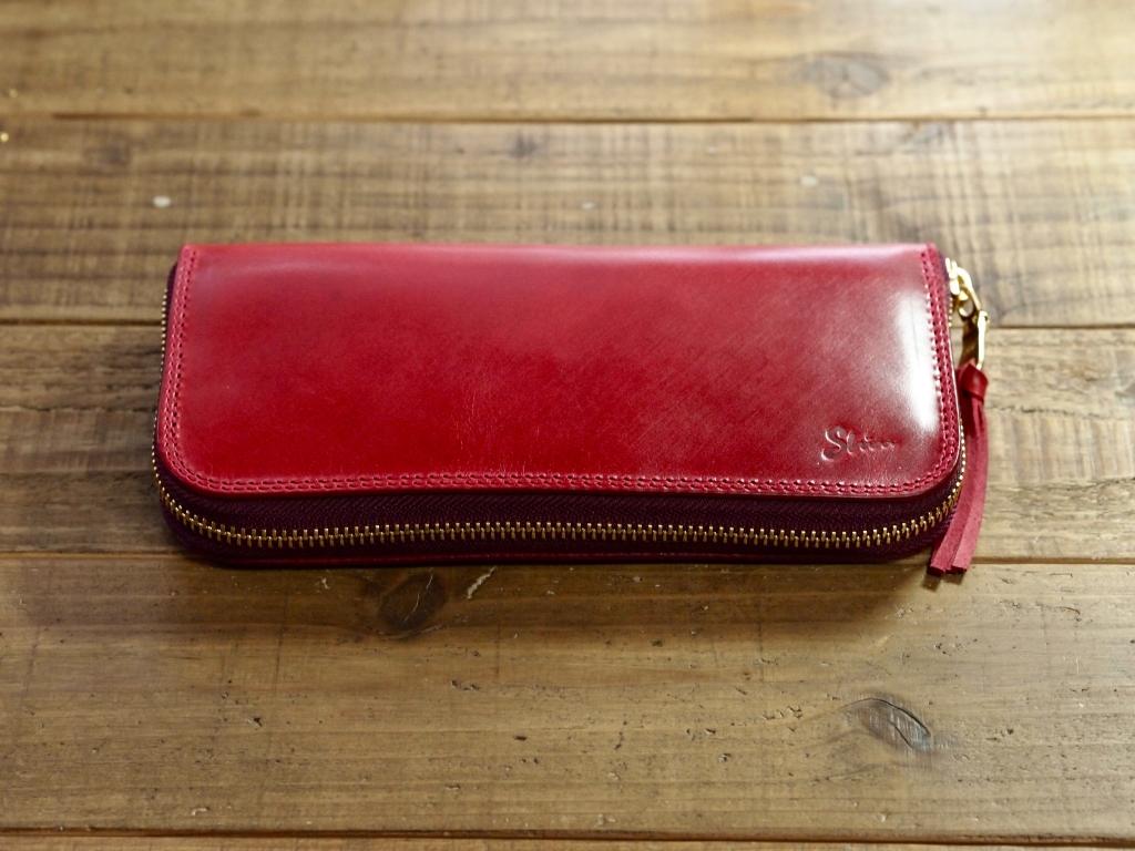 赤い革(プルアップレザー)の長財布