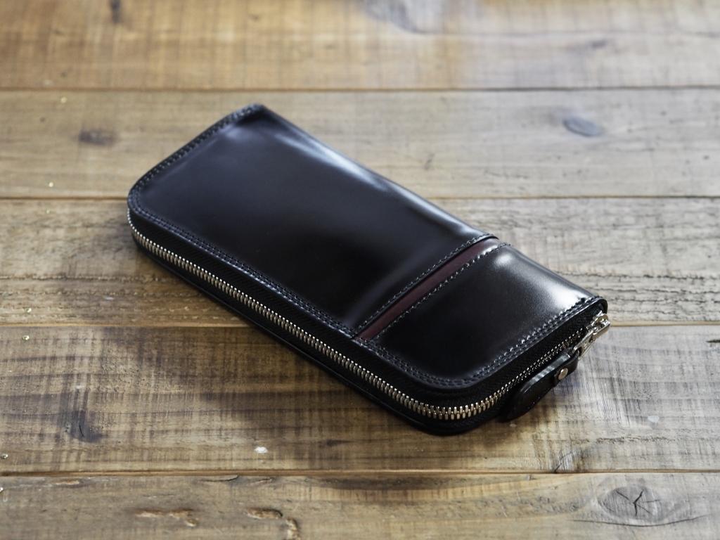 黒いコードバンの長財布