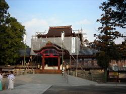工事中の石清水八幡宮
