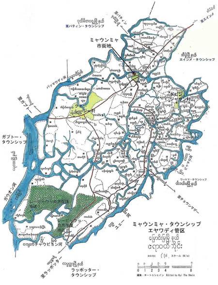 ミャウンミャ郡(Myaungmya Township)の地図