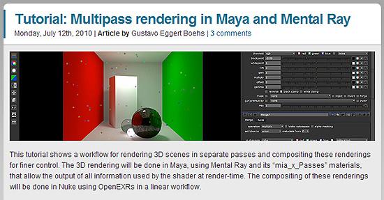 Mayaのマルチパスレンダリング(Multipass rendering)した素材をNukeでコンポジットするチュートリアル