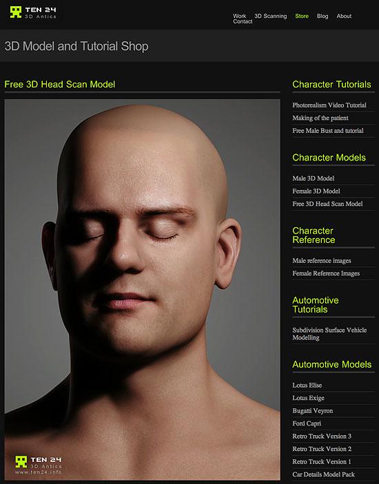 頭部スキャンのモデルデータがフリーダウンロード中