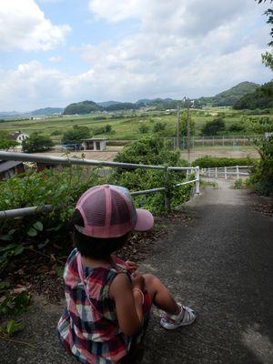 神島から笠岡干拓を望む