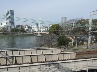車窓から見える大川。