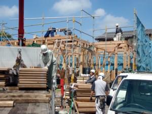 平屋建て住宅の上棟